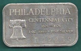 Silver Bar Liberty Bell Philadelphia Centennial City
