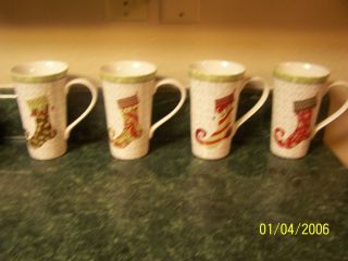 222 Fifth Christmas Stockings Coffee Mugs Set/4 NEW Fine China ~ Free