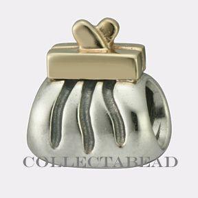 Pandora Sterling Silver 14k Gold Clutch Purse Bead