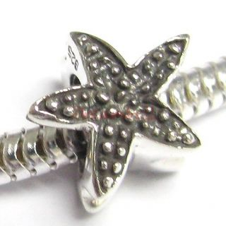 Silver Star Fish Starfish F European Bead Charm Bracelets 11mm