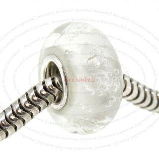 Silver Clear Bubble Murano Glass Bead For European Charm Bracelets