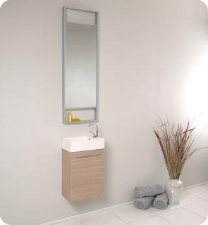 Small Light Oak Modern Bathroom Vanity w Mirror FVN8002LO