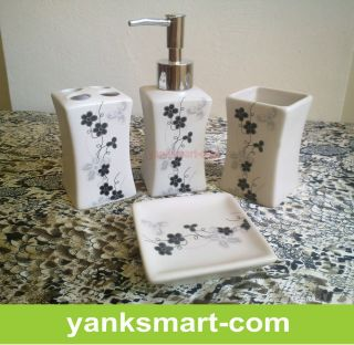 Lotus 4 Pieces Ceramic Bathroom Accessories Set Vanity Dispenser YC