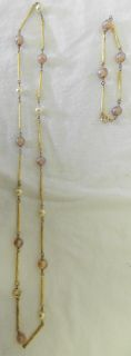 Costume Pink Pearl Gold Bead Gold Tube Necklace Bracelet Set