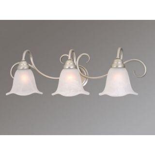 NEW 3 Light Bathroom Vanity Lighting Fixture, Brushed Nickel, White