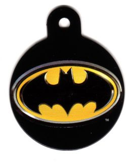BATMAN Circle Engraved Dog Pet ID Tag Charm with Free Key Ring