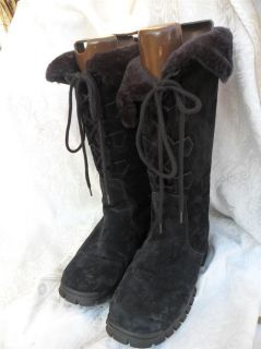 Khombu Bellino tall black suede warm fur lined lace up winter boot 9