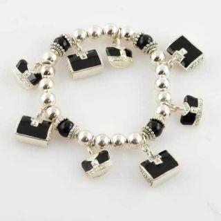 Sterlng EP Purse Pocketbook Stretch Bead Charm Bracelet
