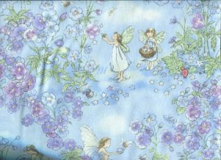 Sweet Fairies Flowers on Lt Blue Cotton Quilt Fabric