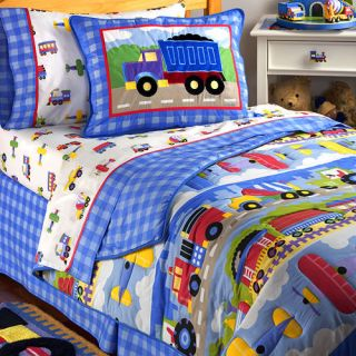 Blue Red Choo Train Planes Dump Truck Queen Bed in Bag