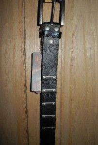 Unisex Bed Stu Black Leather Distressed Belt Studded Bars Sz s 28