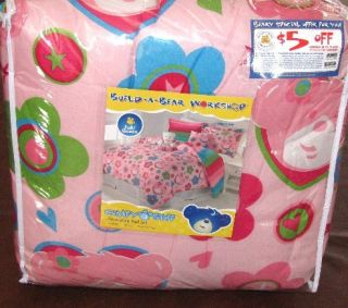 New Build A Bear Workshop Friendship Full Queen Comforter Set Pink