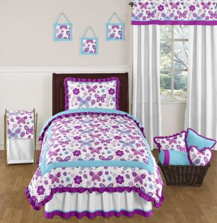 Flower Butterfly Purple Turquoise White Girl Twin Bedding Comforter