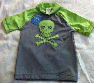 Gyymboree Sunscreen Swimwear Top Gray and Green w Skull and Cross