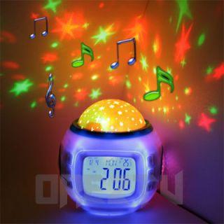 Projector Kids Bedroom Sleeping LED Nightlight Lamp Music Alarm Clock