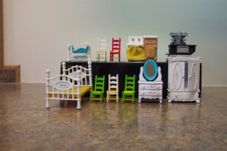 37 pieces dollhouse furniture 2 bedrooms kitchen living room