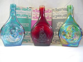 Decanter Lot Betsy Ross, John Paul Jones, Ben Franklin Carnival Glass