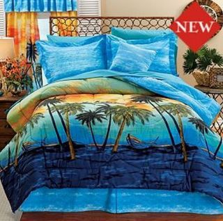 Boat Palm Tree Blue Summer Beach Twin Full Comforter Set