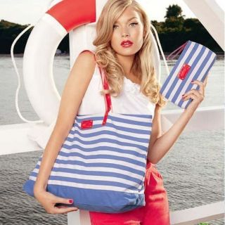 BEACH TOTE BAG Navy blue and white striped decorative high capacity