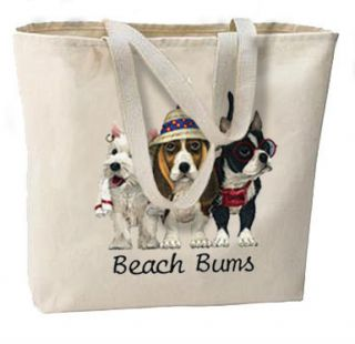 Beach Bums Dogs New Oversize Canvas Beach Tote Bag Free SHIP USA