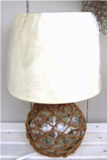 Nautical Rope Fishing Float Table Lamp Beach Decor Clear Glass