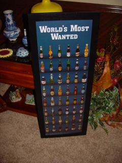 MAN CAVE WOOD FRAMED PRINT BEERS OF THE WORLD BAR DISPLAY BLACK FINISH