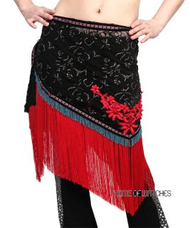 Sexy Black Belly Wrap Hip Scarf Costume Red Flower Tassels Dance Wear
