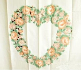 Beautiful Heart Shape Rose Embroidery Cutwork Shower Curtain Valance