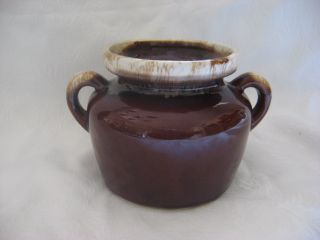 Vintage McCoy Pottery Brown Drip Bean Pot Handles Crock Art Retro Mint