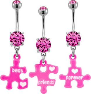 Puzzle Piece Best Friends BFF 3 Piece Navel Bar Belly Piercing Ring