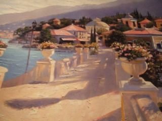 Bellagio Promenade II Embelished by Howard Behrens HANDSIGNED 40in x
