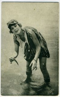 Arcade Card~Mack Sennett Bathing Beauty, girl with fish in the surf