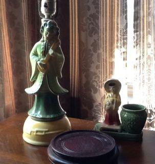 Beautiful Gonder Asian Oriental 1950s Figurine Table Lamp