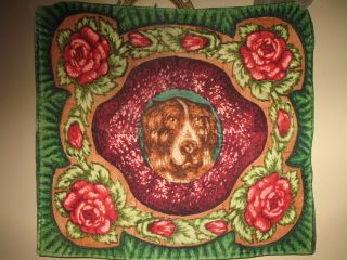 VICTORIAN 19th C WOOL SLEIGH BUGGY BLANKET LAP ROBE W ST BERNARD ROSES