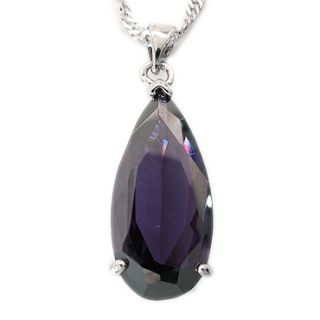 Special Wedding Jewelry Pear Cut Amethyst White Gold GP Pendant