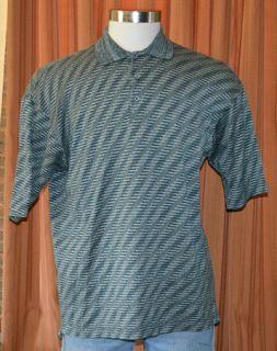 Jhane Barnes Short Sleeve Green Gray Beige Casual Polo Shirt Mens