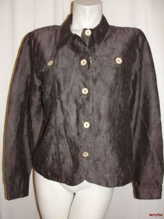 Coldwater Creek Brown Creased Textured Long Sleeve Shirt Top Size M