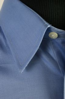 New Ike Behar Cotton Long Sleeve Mens Dress Shirt 16 5 36 Blue