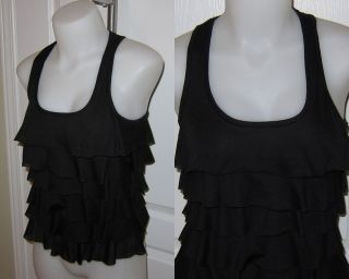Womens Urban Behavior Worn 1x Sexy Ruffle Tiered Tank Top Shirt XS
