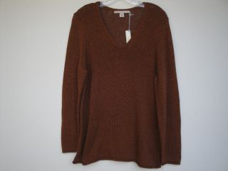 NWT Belford Coffee Bean Brown Copper Cotton Knit Sweater Top Size XL