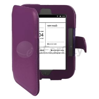 Nook 2 Simple Touch GlowLight Reader Leather Case Cover Purple