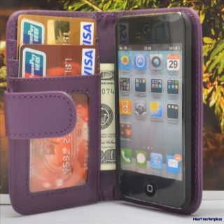 Leather Hard Case Cover for iPod Touch 4 4th Purple 3522XT