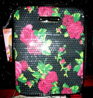 Betsey Johnson BLACK GLITZY FLORAL ROSES SEQUIN IPAD Ereader ZIP Cover