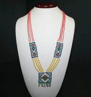 Native American Indian Glass Seed Bead Rug Pattern Necklace