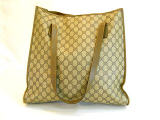 USED Gucci GG Monogram Coated Canvas/Leather Tote bag Auth Free SH