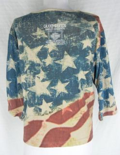 Harley Davidson Patriotic American Flag Graphic Tee Shirt Top XL Eagle