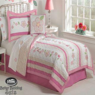 Girl Children Kid Pink Flower Quilt Bedding Bed Set for Twin Full