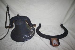 Antique C s Bell Metal Cast Iron Farm Ranch School Bell 2 Yoke Upright