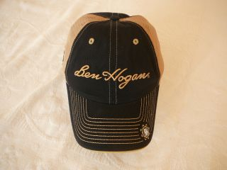 Ben Hogan peaked golf cap hat Black /mesh side Quality tour