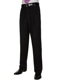 BERLE Mens Black Worsted Wool Dress Pants Pleated Trousers Milan